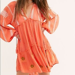 Free People Wild Horses Embroidered Mini Dress, XS